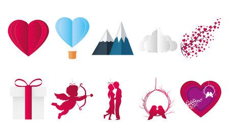 Love icon bundle design of Passion and romantic theme Vector illustration