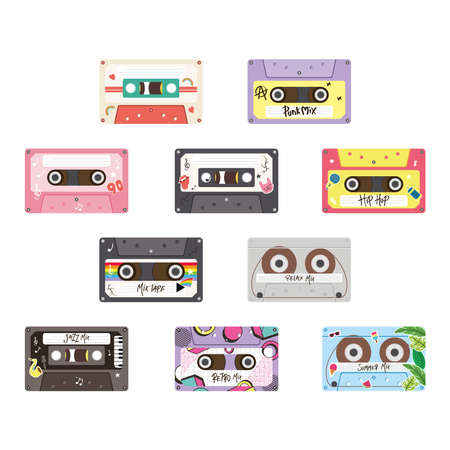 retro cassettes icon group design, Music vintage tape and audio theme Vector illustration Ilustrace