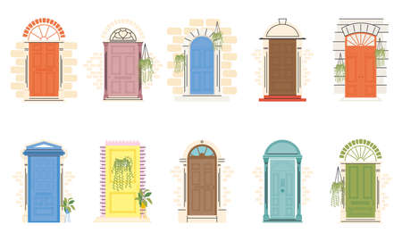 front doors with plants symbol collection design, House home entrance decoration building theme Vector illustration