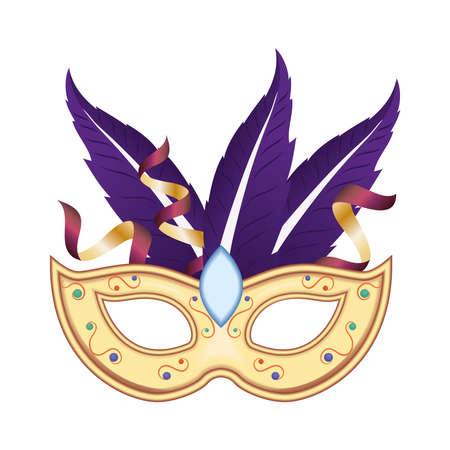 Mardi gras mask with feathers and confetti design, Party carnival decoration celebration and festival theme Vector illustration Ilustrace
