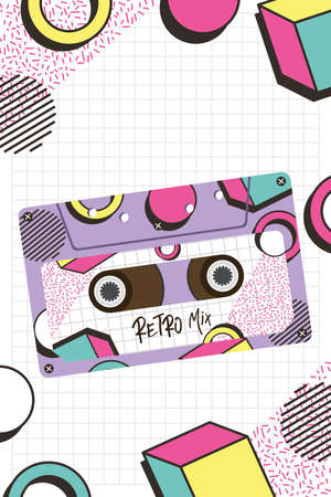 retro mix cassette design, Music vintage tape and audio theme Vector illustration