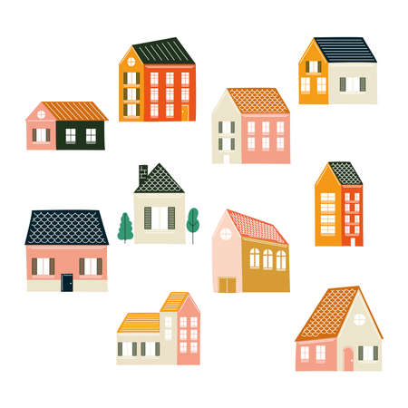 Houses icon bundle design, Home real estate building theme Vector illustration