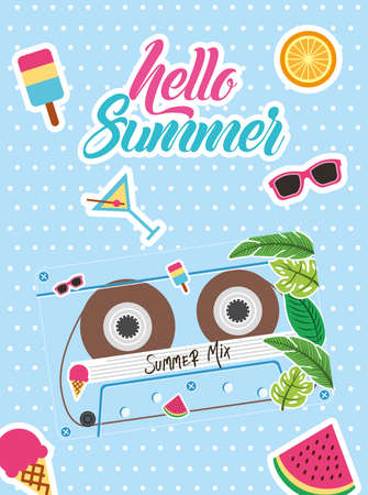 summer mix retro cassette with icons design, Music vintage tape and audio theme Vector illustration Ilustrace