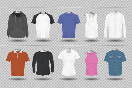Mockup clothing hanging icon collection design of cloth corporate identity wear and shopping theme Vector illustration 일러스트