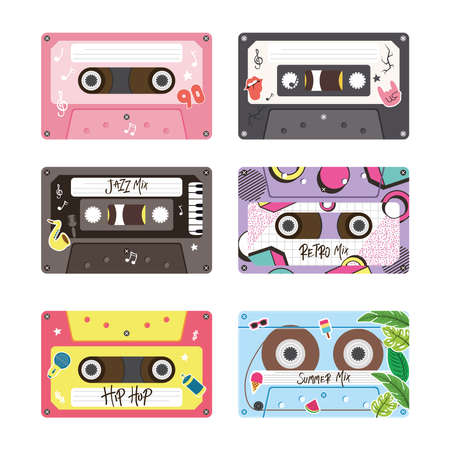 retro cassettes icon bundle design, Music vintage tape and audio theme Vector illustration