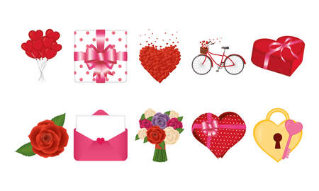 Happy valentines day icon bundle of love passion and romantic theme Vector illustration 일러스트
