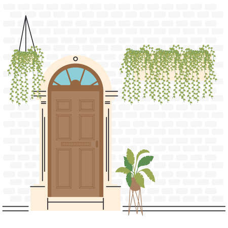 brown front door with plants design, House home entrance decoration building theme Vector illustration