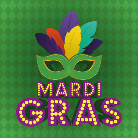Mardi gras mask on green background design, Party carnival decoration celebration and festival theme Vector illustration Ilustrace