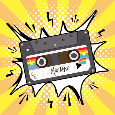 mix tape retro cassette on explosion bubble design, Music vintage and audio theme Vector illustration Ilustrace