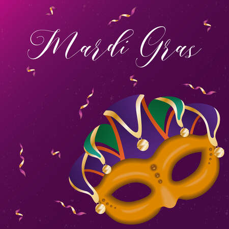 Mardi gras harlequin hat with mask and confetti design, Party carnival decoration celebration and festival theme Vector illustration