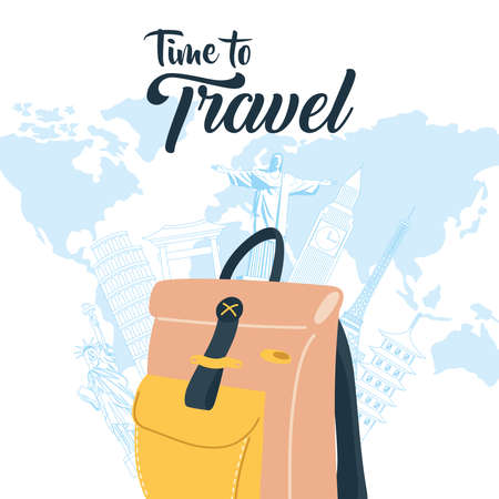 Time to travel with bag landmarks and world design, Baggage luggage and tourism theme Vector illustration