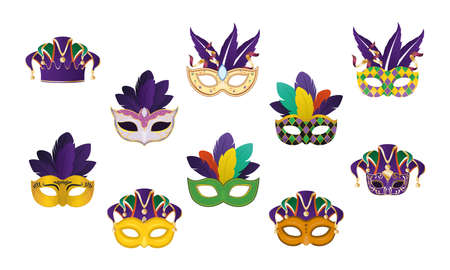 Mardi gras masks with feathers set design, Party carnival decoration celebration and festival theme Vector illustration