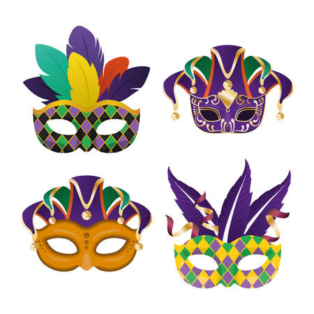 Mardi gras masks with feathers icon set design, Party carnival decoration celebration and festival theme Vector illustration