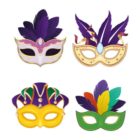 Mardi gras masks with feathers icon collection design, Party carnival decoration celebration and festival theme Vector illustration