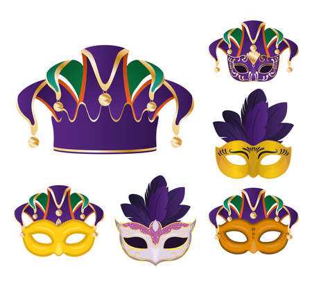 Mardi gras masks with feathers symbol set design, Party carnival decoration celebration and festival theme Vector illustration
