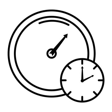 time clock with gauge style line icon vector illustration design
