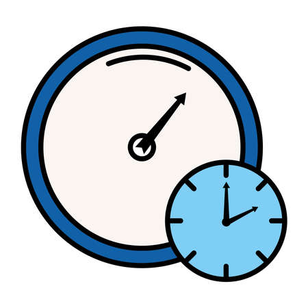 time clock analog with gauge style line and fill icon vector illustration design