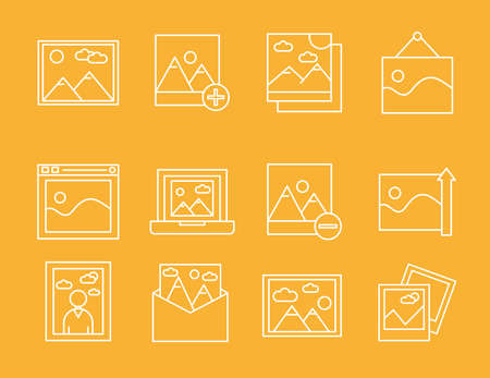bundle of twelve pictures with differents scenes line style icons vector illustration design