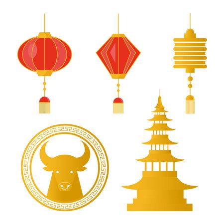 happy chinese new year set icons vector illustration design Illustration