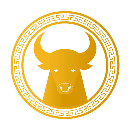chinese new year card with golden head ox in circular frame vector illustration design