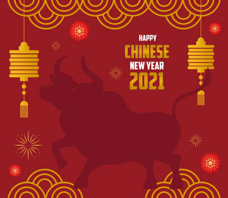 chinese new year 2021 card with silhouette ox and decoration vector illustration design