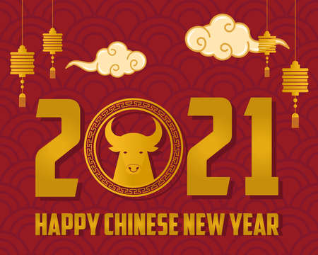 chinese new year 2021 card with golden ox and lettering vector illustration design