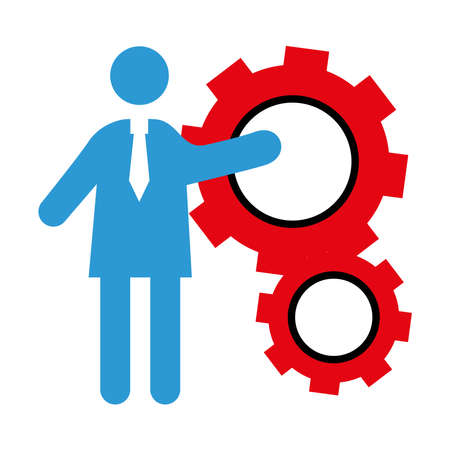 business person coaching with gears settings half line style icon vector illustration design
