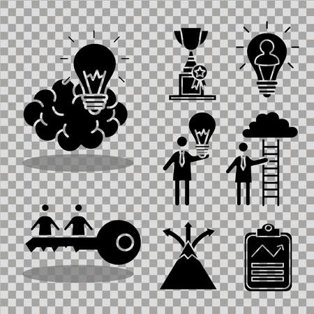 bundle of nine business people coaching and ten silhouettes style icons vector illustration design