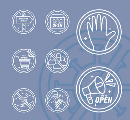 bundle of eight reopening labels stickers set line style icons vector illustration design