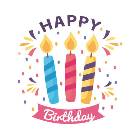 happy birthday badge with candles on white background vector illustration design