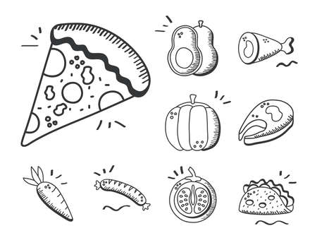 Food hand draw and line style icon collection design of eat restaurant and menu theme Vector illustration