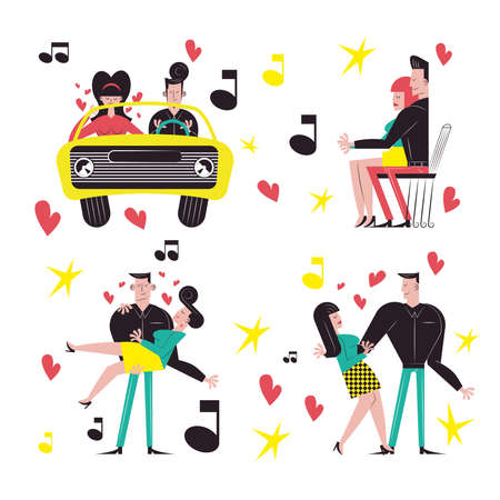Romantic couple cartoons icon collection design, Relationship love and romance theme Vector illustration
