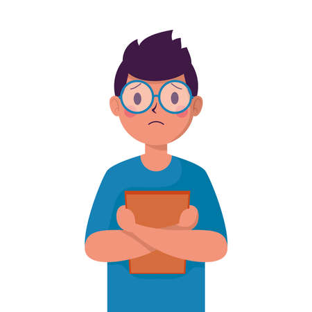 young man victim of bullying with big lens glasses character vector illustration design