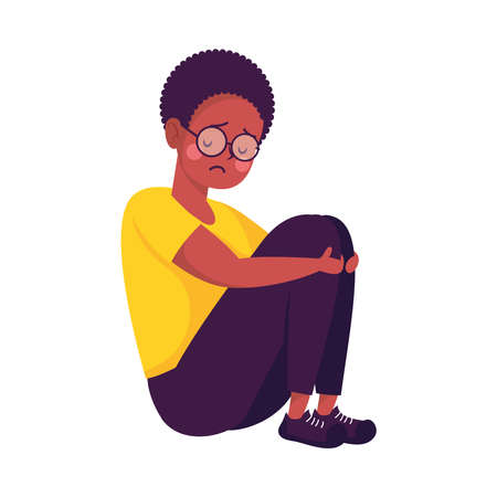 young afro man seated victim of bullying character vector illustration design Illustration