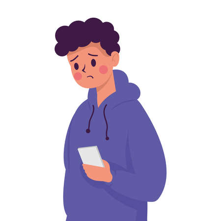 young man with smartphone victim of cyber bullying character vector illustration design