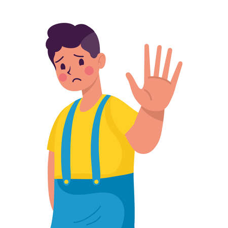 young man victim of bullying with hand stop vector illustration design