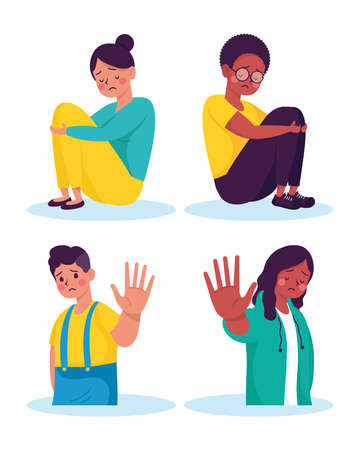 people victims of bullying characters vector illustration design