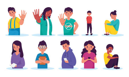 group of young persons victims of bullying characters vector illustration design Illustration