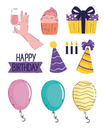 bundle of ten happy birthday letterings and icons vector illustration design