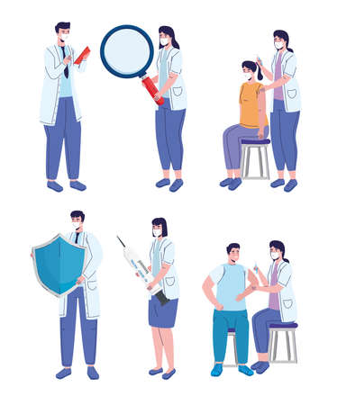 doctors staff with  vaccination campaign characters vector illustration design