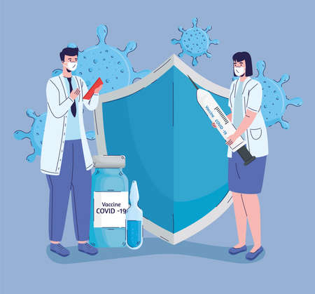 doctors couple with   vaccination icons vector illustration design