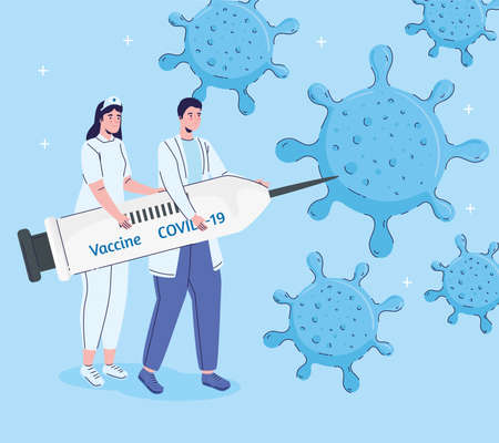 doctors couple lifting syringe with covid19 vaccine and particles vector illustration design