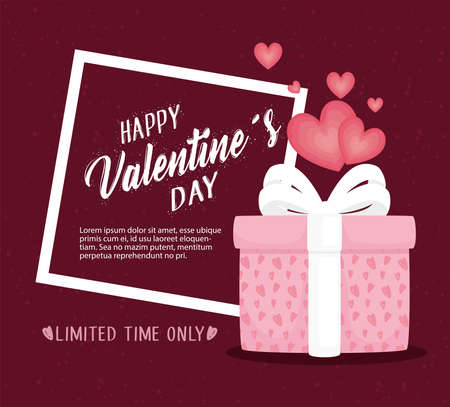happy valentines day lettering card with gift and hearts vector illustration design Ilustração