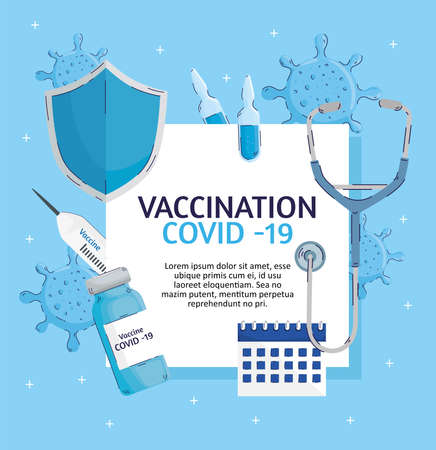 vaccination lettering with set items vector illustration design Ilustracja
