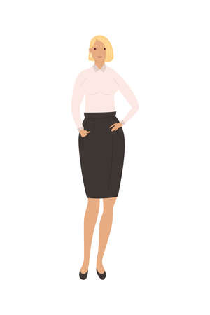 blond young businesswoman standing avatar character vector illustration design