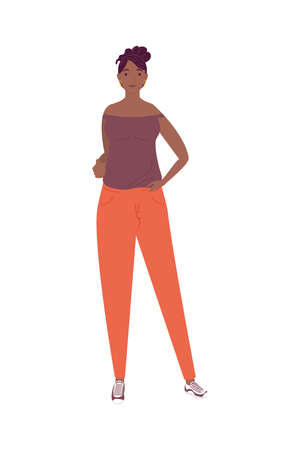 afro young woman standing avatar character vector illustration design 矢量图像