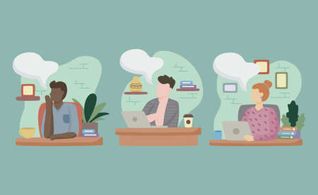group of people dreaming in the workplace vector illustration design Vector Illustration