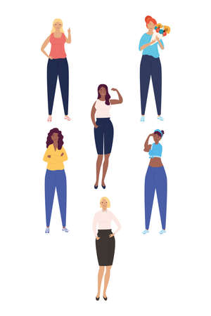 group of diversity girls standing characters vector illustration design
