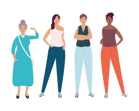 group of diversity women characters vector illustration design