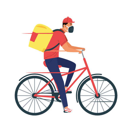 delivery service worker wearing medical mask in bicycle vector illustration design